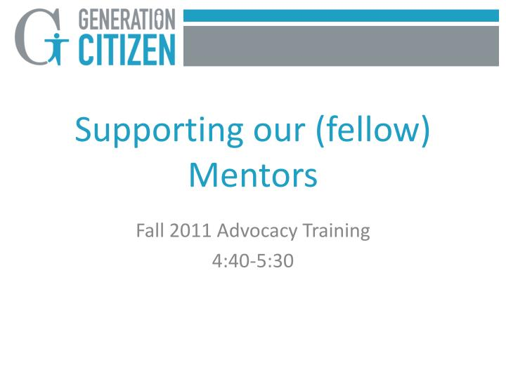 Supporting our (fellow) Mentors