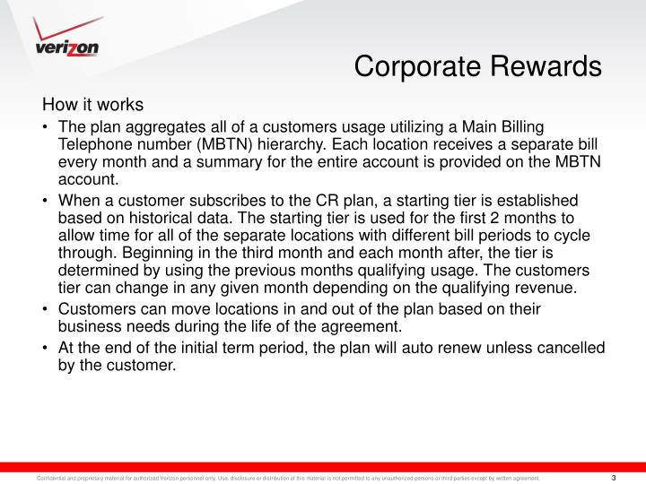 Corporate rewards1