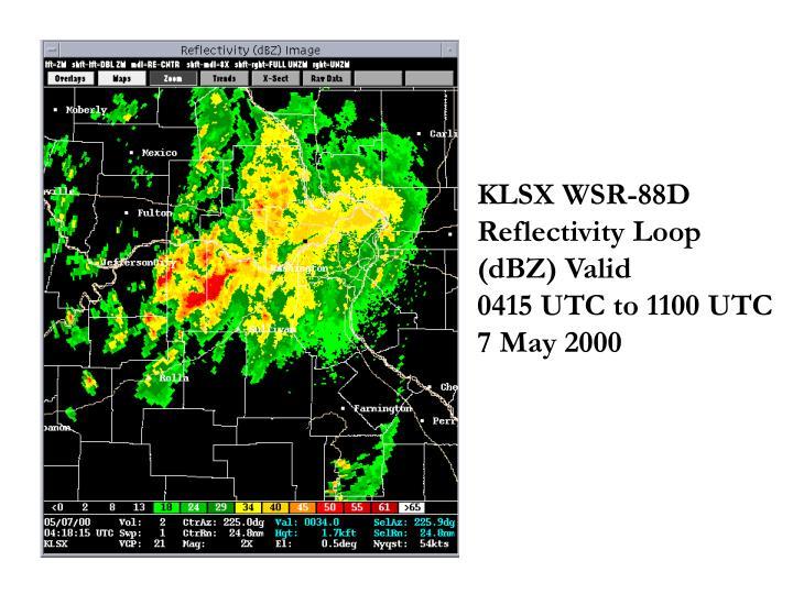 KLSX WSR-88D Reflectivity Loop (dBZ) Valid                0415 UTC to 1100 UTC 7 May 2000