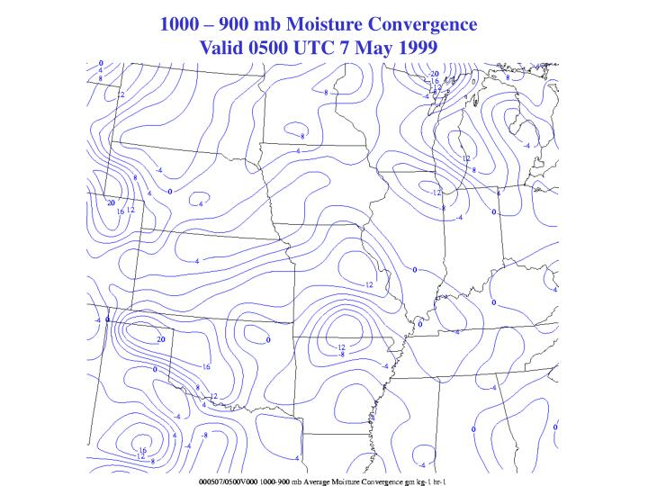 1000 – 900 mb Moisture Convergence                                                   Valid 0500 UTC 7 May 1999