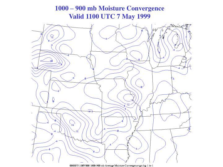 1000 – 900 mb Moisture Convergence                                                   Valid 1100 UTC 7 May 1999