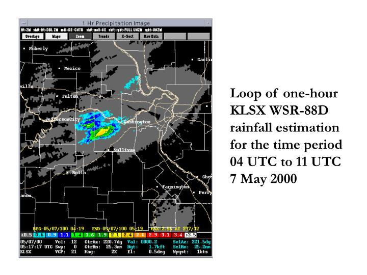 Loop of one-hour KLSX WSR-88D rainfall estimation for the time period           04 UTC to 11 UTC   7 May 2000