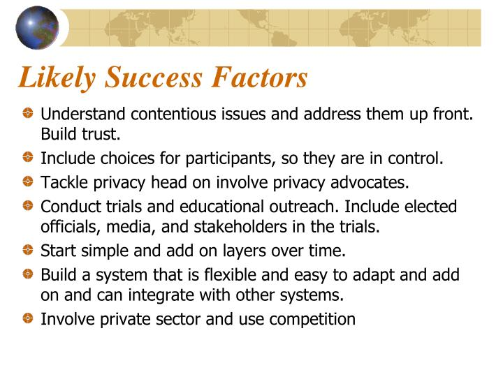 Likely Success Factors