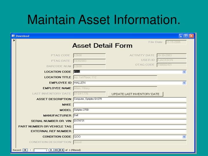 Maintain Asset Information.