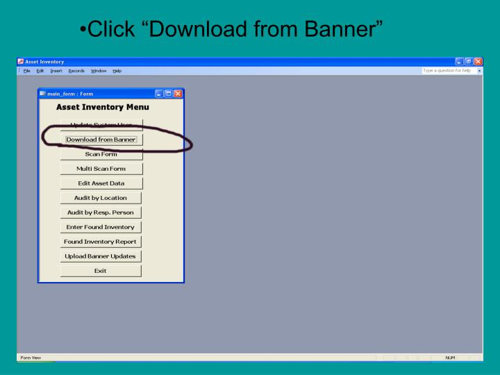 """Click """"Download from Banner"""""""