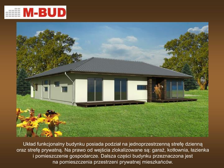 Układ funkcjonalny budynku posiada podział na jednoprzestrzenną strefę dzienną