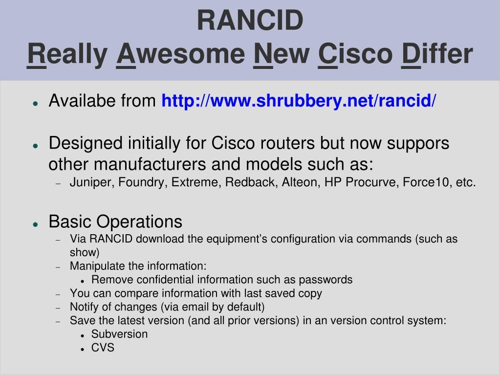 PPT - RANCID and CVS PowerPoint Presentation - ID:4250005