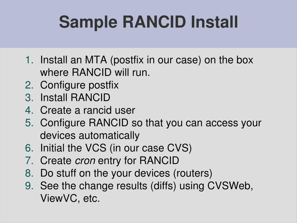 PPT - RANCID and CVS PowerPoint Presentation, free download