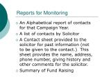 reports for monitoring