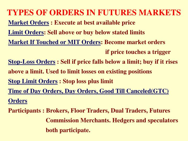 TYPES OF ORDERS IN FUTURES MARKETS