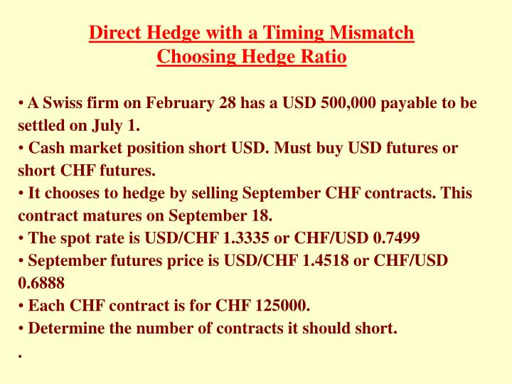 Direct Hedge with a Timing Mismatch