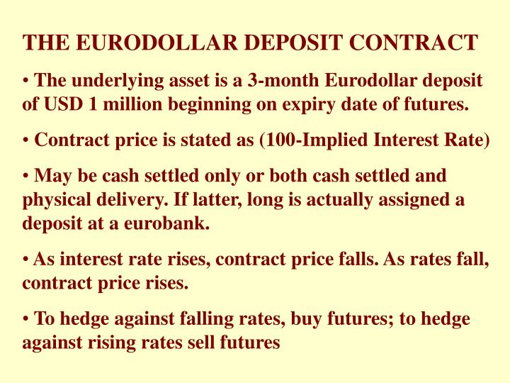THE EURODOLLAR DEPOSIT CONTRACT