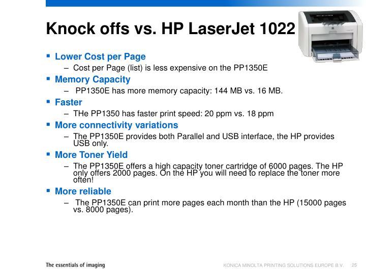 Knock offs vs. HP LaserJet 1022