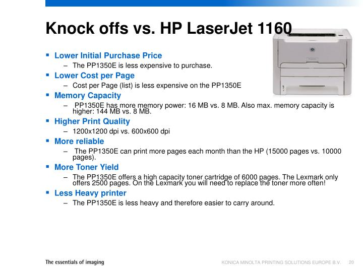 Knock offs vs. HP LaserJet 1160