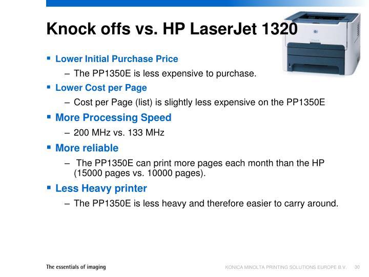 Knock offs vs. HP LaserJet 1320