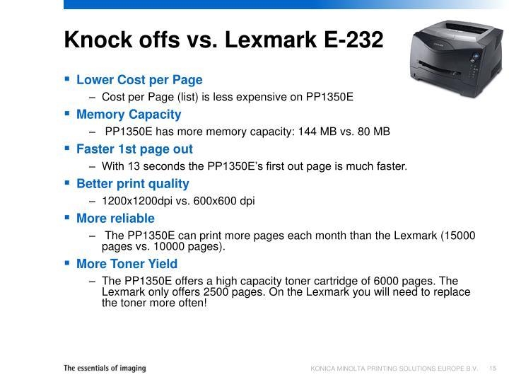 Knock offs vs. Lexmark E-232