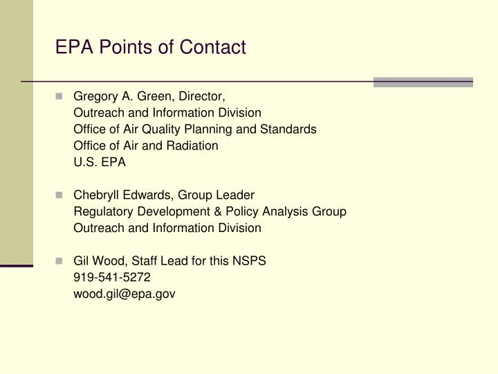 Epa points of contact