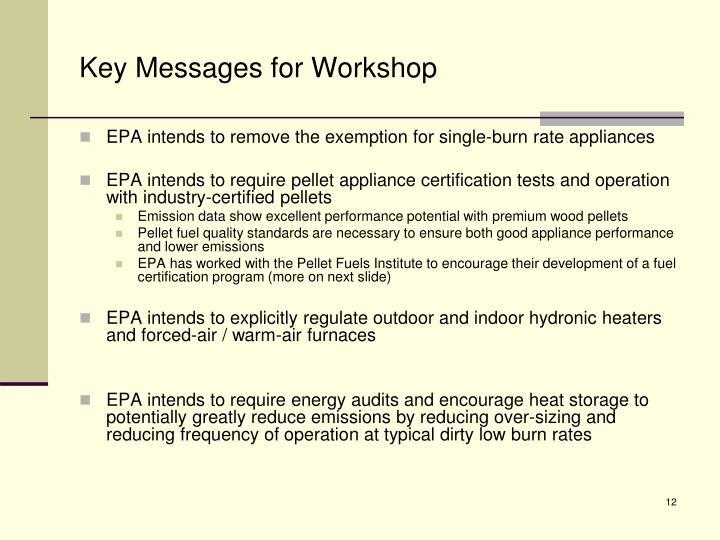 Key Messages for Workshop