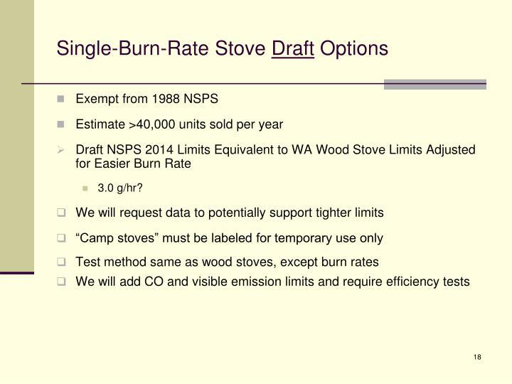 Single-Burn-Rate Stove