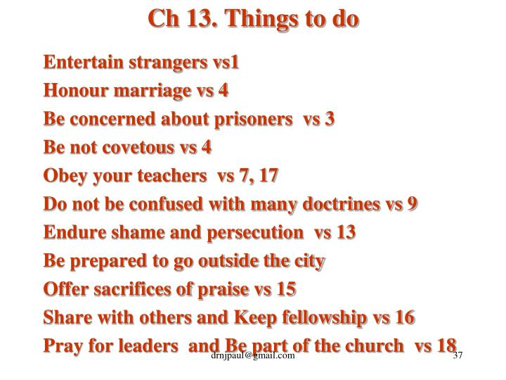 Ch 13. Things to do
