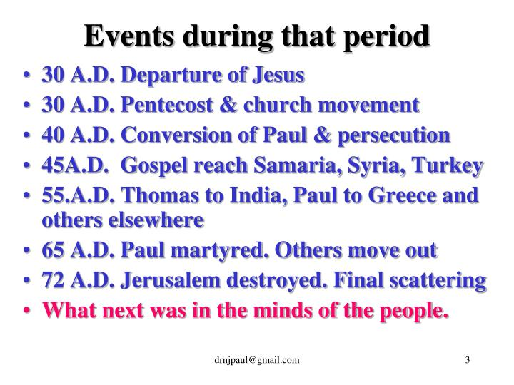 Events during that period