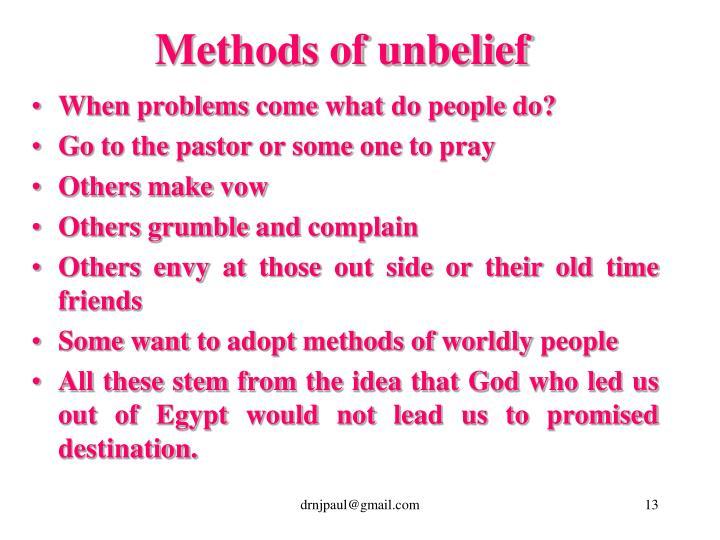 Methods of unbelief