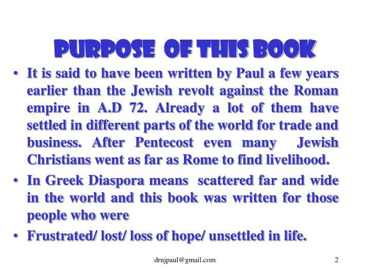 Purpose of this book