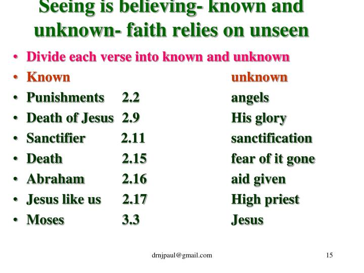 Seeing is believing- known and unknown- faith relies on unseen