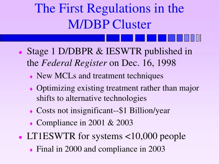 The First Regulations in the M/DBP Cluster