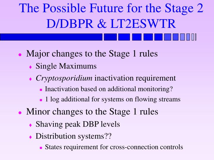 The Possible Future for the Stage 2 D/DBPR & LT2ESWTR