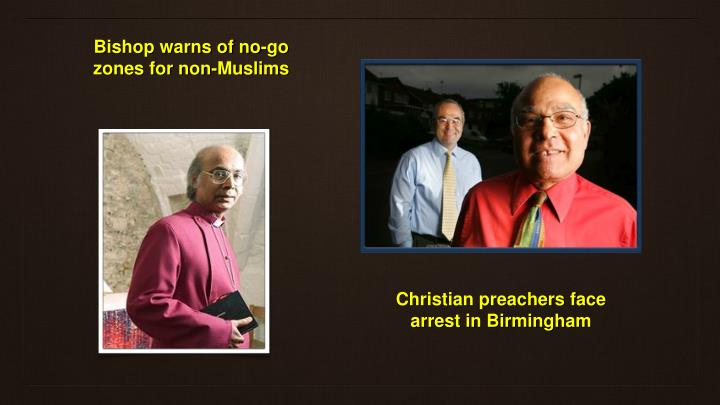 Bishop warns of no-go zones for non-Muslims
