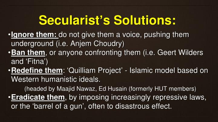 Secularist's Solutions: