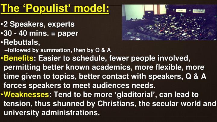 The 'Populist' model: