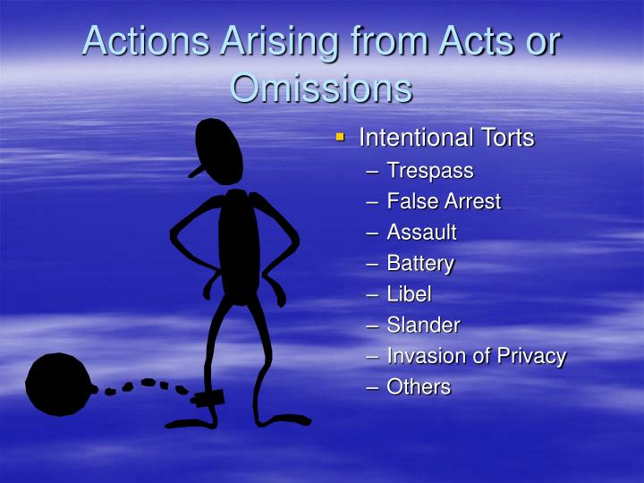 Actions Arising from Acts or Omissions