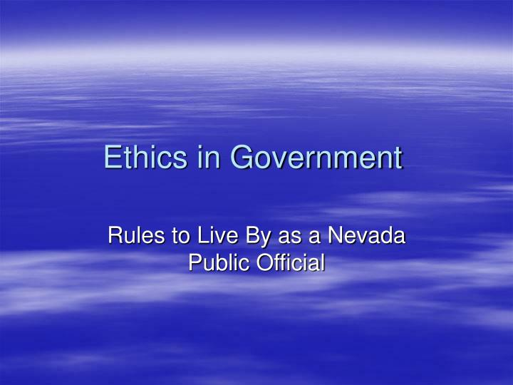 Ethics in Government