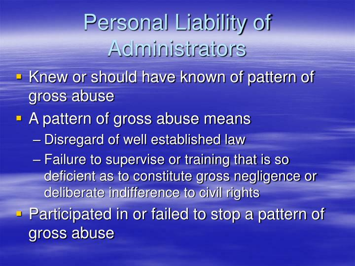 Personal Liability of Administrators