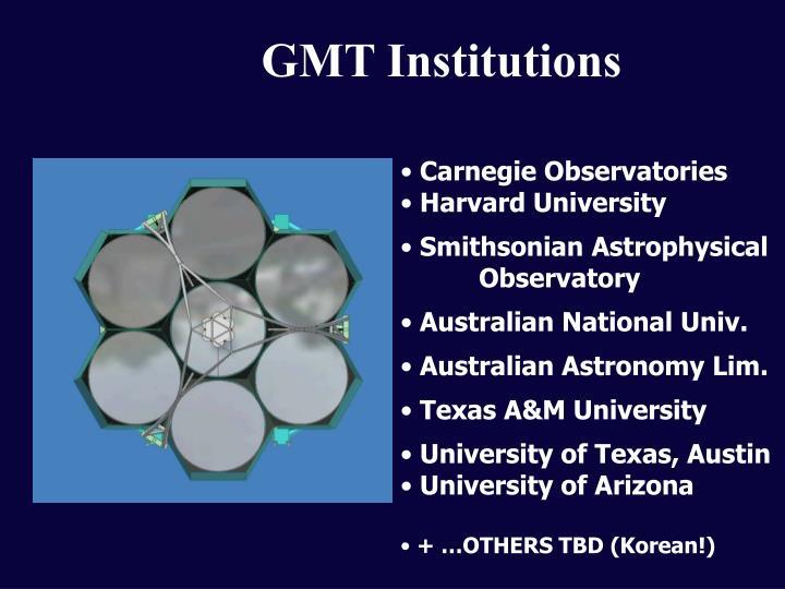 GMT Institutions