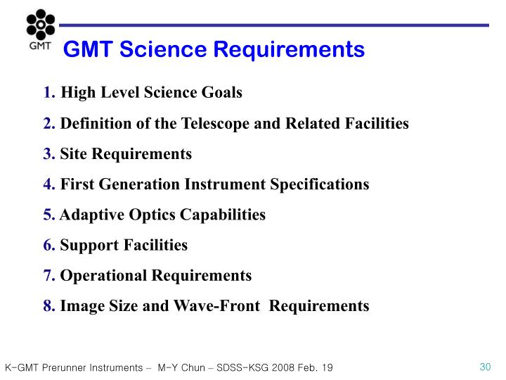 GMT Science Requirements