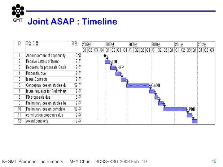 Joint ASAP : Timeline