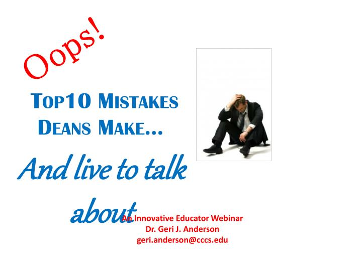 top10 mistakes deans make n.