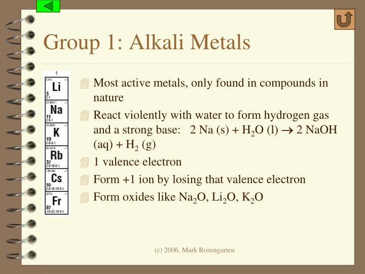 Group 1: Alkali Metals