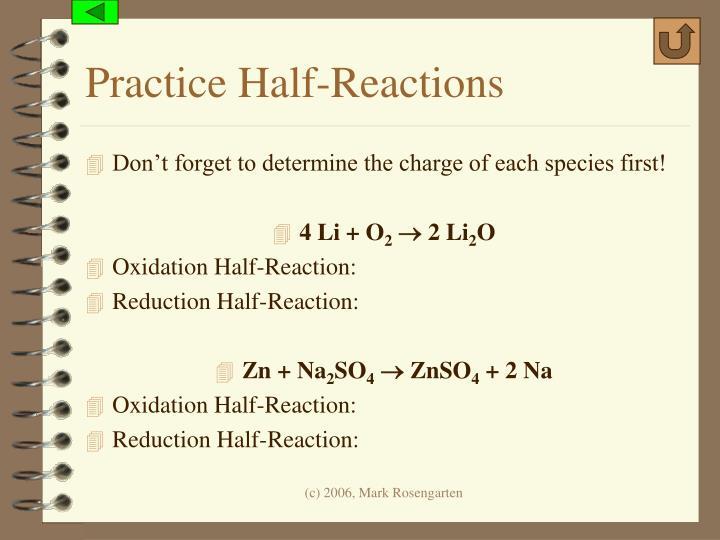 Practice Half-Reactions