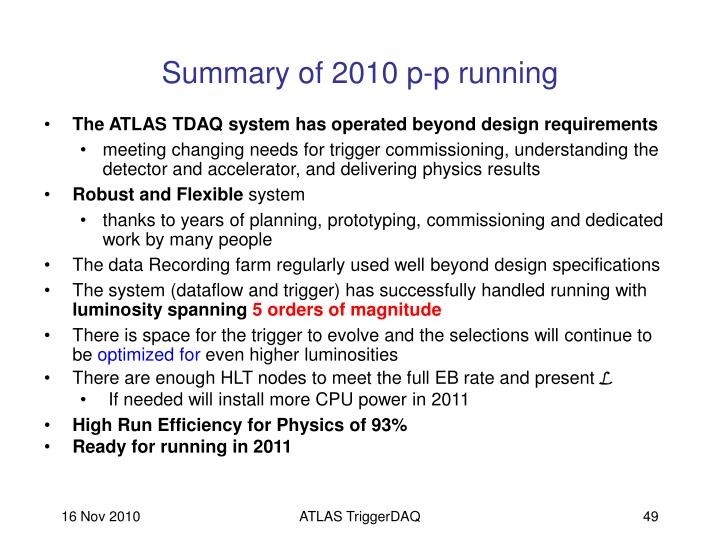 Summary of 2010 p-p running
