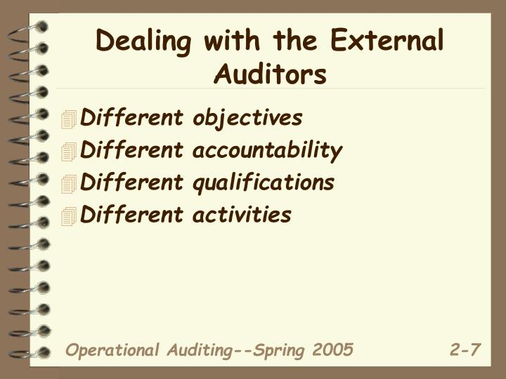 Dealing with the External Auditors