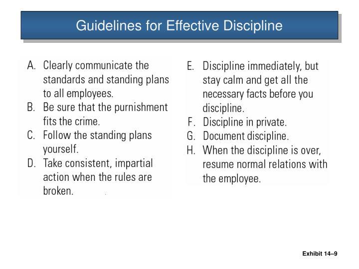 Guidelines for Effective Discipline