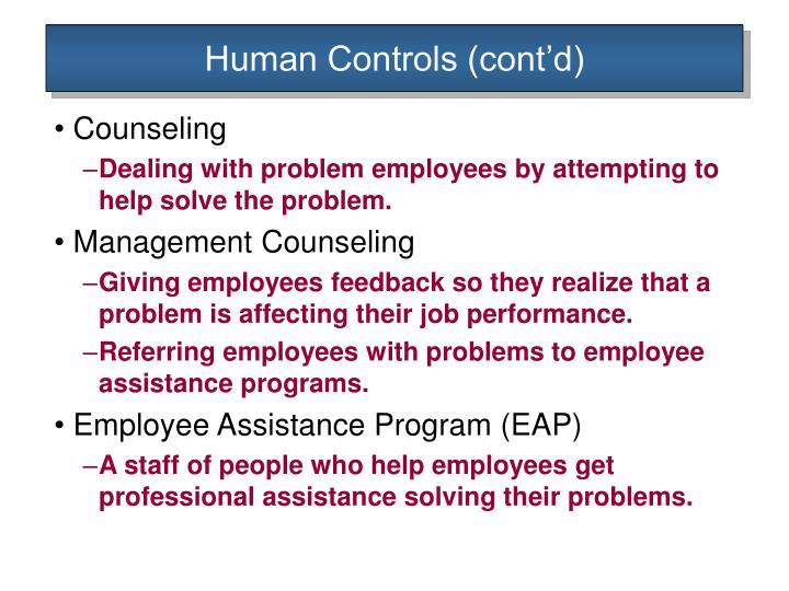 Human Controls (cont'd)