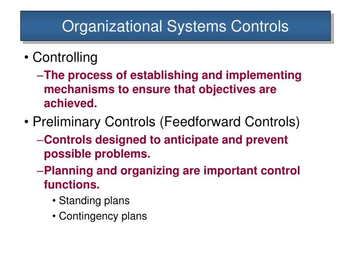 organisational control 51 today's concept of organizational management chapter 3 chapter objectives define management and differentiate between the art and science of management review the basic functions of management.