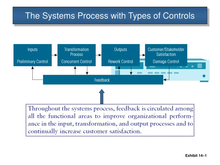 The systems process with types of controls