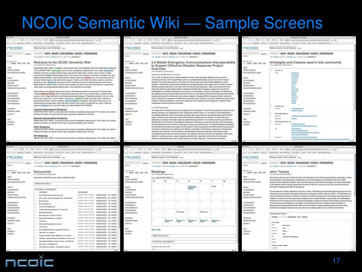 NCOIC Semantic Wiki — Sample Screens