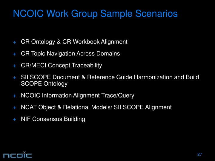 NCOIC Work Group Sample Scenarios